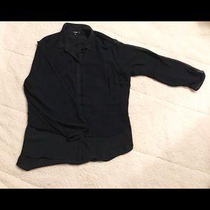 Women's 2X Long Sleeve Navy Blue Blouse
